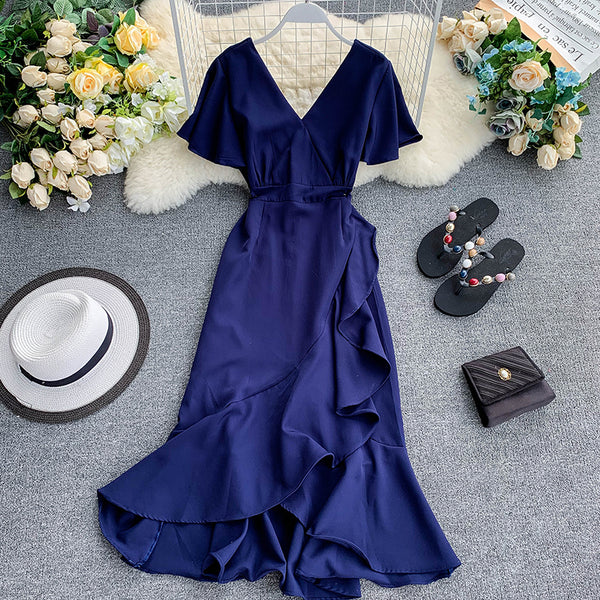 (Pre-Order) V Neck Bell Sleeve Asymmetrical Midi Dress in Navy Blue