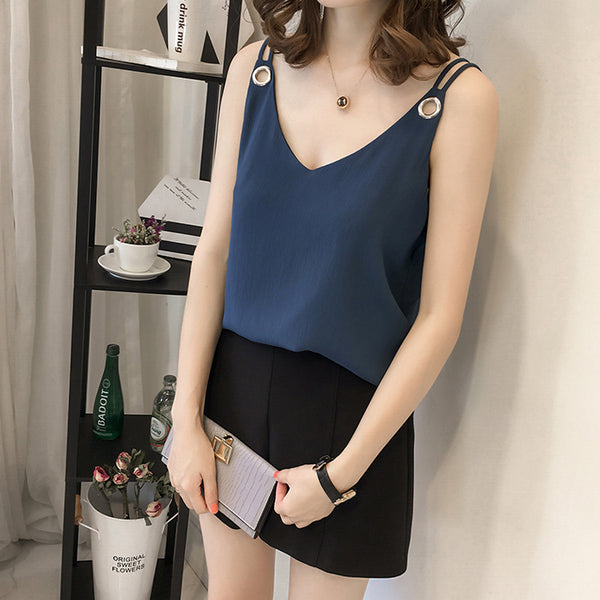 (Pre-Order) Basic Sleeveless Loose Fit Ring Spag Top in Navy Blue