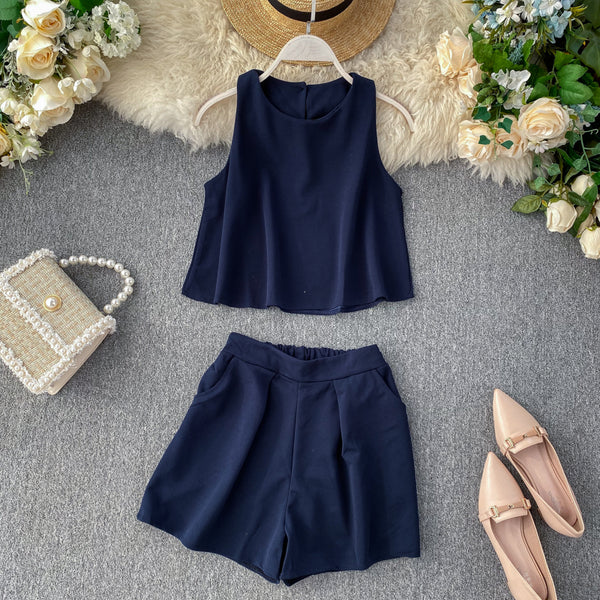(Pre-Order) 2 Piece Sleeveless High Waist Wide Leg Suit in Navy Blue