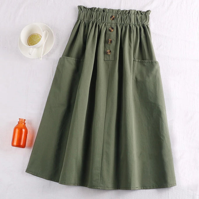 (Pre-Order) Sides Large Pockets High Waist Midi Skirt In Green