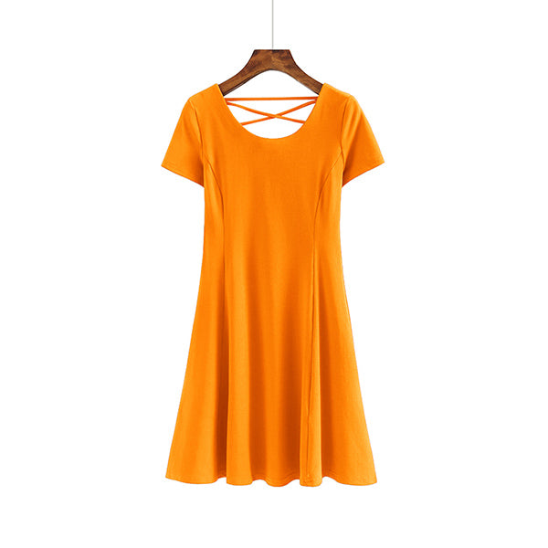 (Pre-Order) Back Criss Cross Skater Dress in Orange