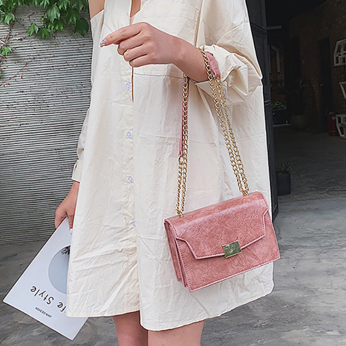 (Pre-Order) Textured Rectangular Chain Bag in Pink