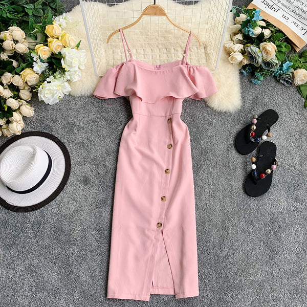(Pre-Order) Spag Ruffles Cold-Shoulder Button Up Midi Dress in Pink