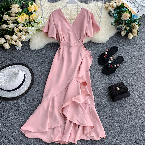 (Pre-Order) V Neck Bell Sleeve Asymmetrical Midi Dress in Pink