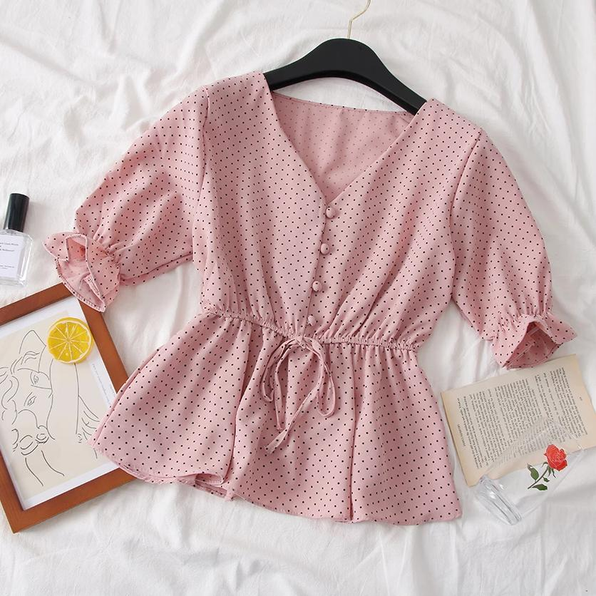 (Pre-Order) V Neck Polka Dots Ruffles Sleeve Top in Pink