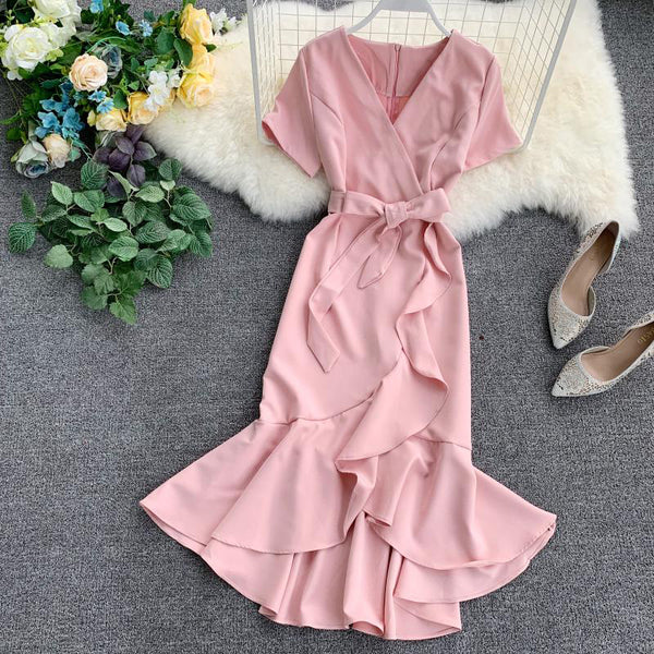 (Pre-Order) V Neck Sleeve Ribbon Asymmetrical Ruffles Midi Dress in Pink