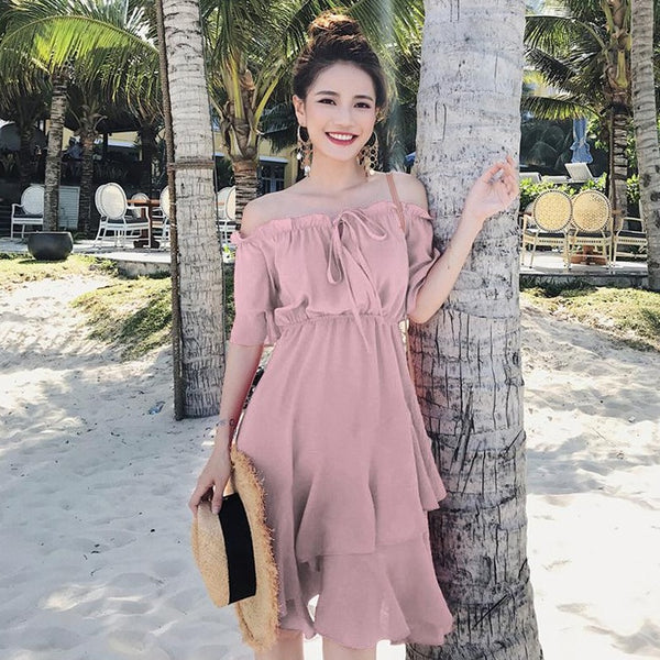 Ruffles Off-Shoulder Asymmetrical Layered Dress In Pink