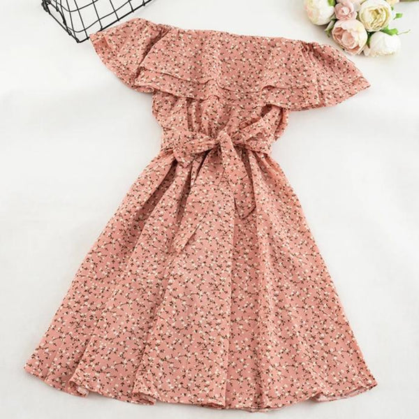 (Pre-Order) Double Ruffles White Floral Off-Shoulder Dress in Pink