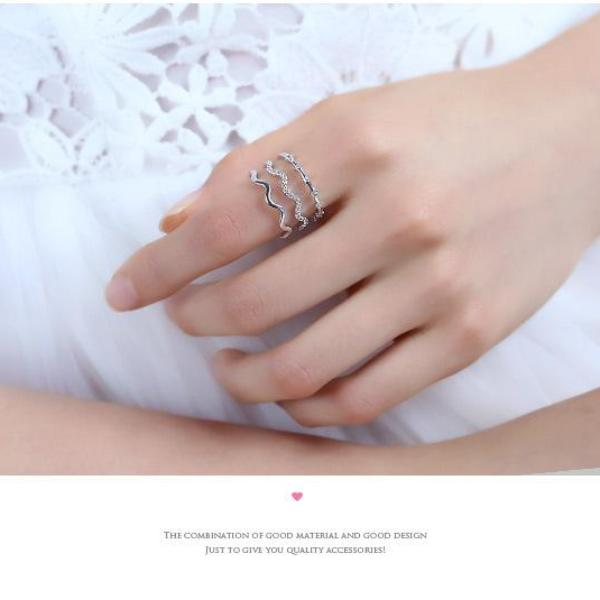 (Pre-Order) Wave Design Multi Layer Adjustable Open Finger Ring in Rose Gold/Silver