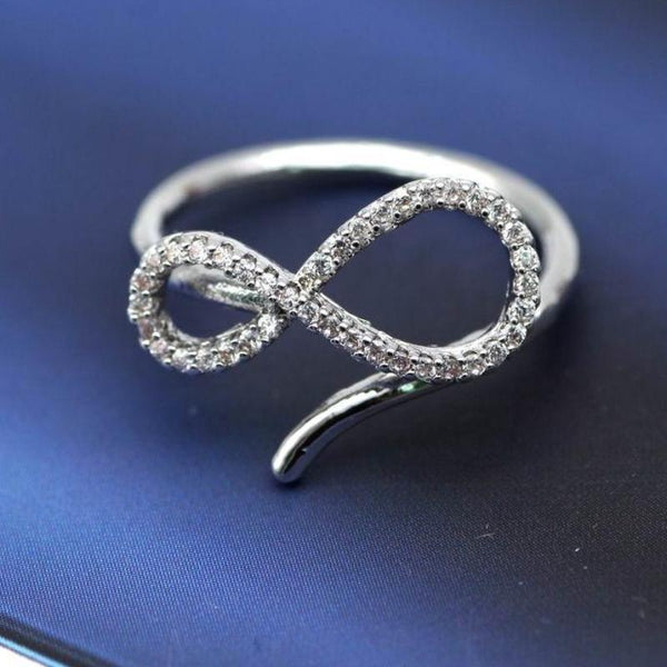(Pre-Order) Adjustable Infinity Open Finger Ring in Rose Gold/Silver