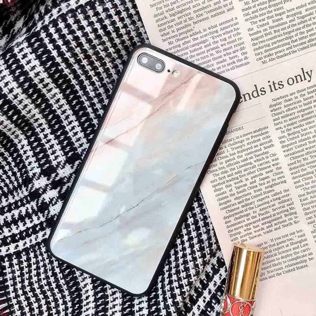 (Pre-Order) Marble Tempered Glass Soft Edge Phone Case For iPhone