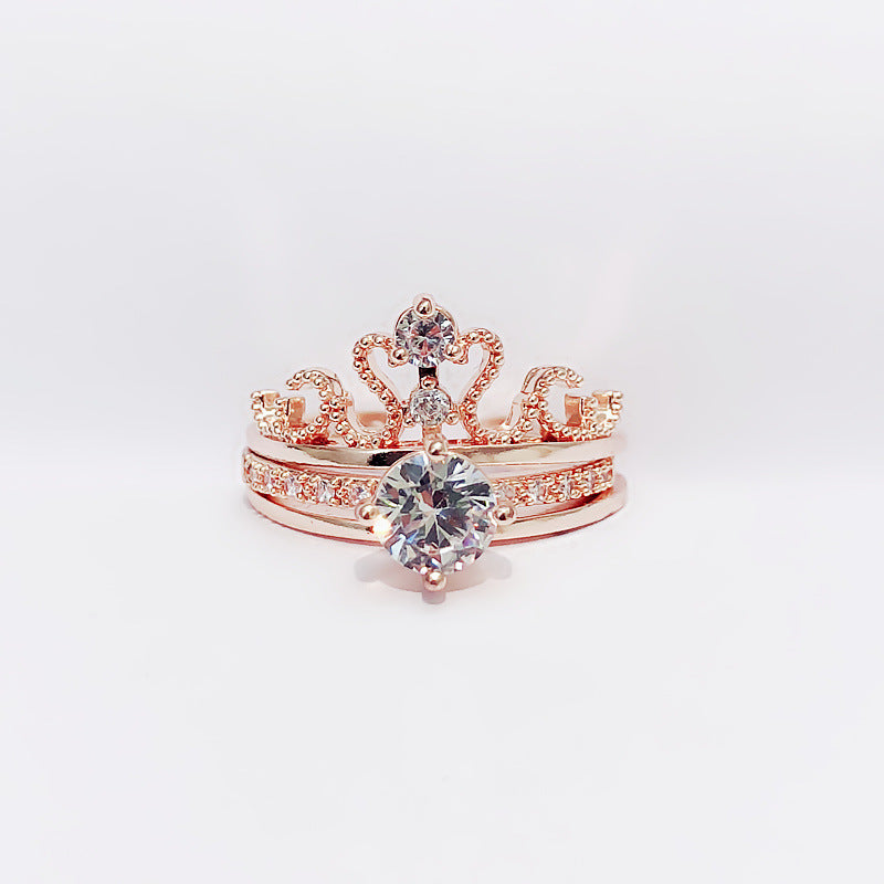(Pre-Order) Zircon Crown Adjustable Finger Ring 2PCS/Set in Rose Gold/Silver