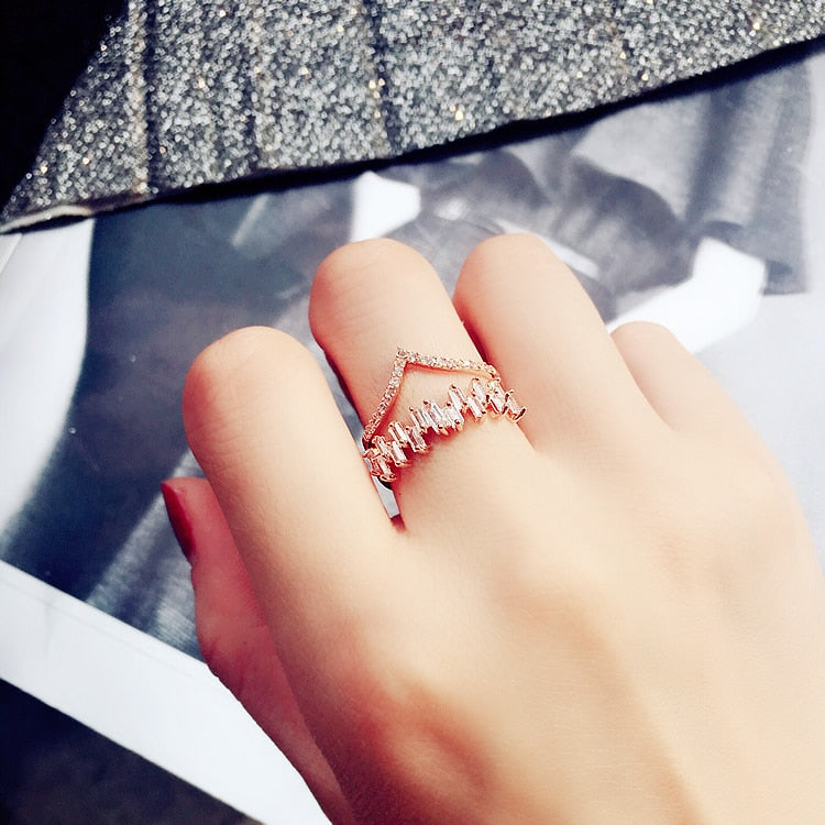 (Pre-Order) Delicate V Shaped Wave Design Double Layers Open Adjustable Finger Ring in Rose Gold/Silver