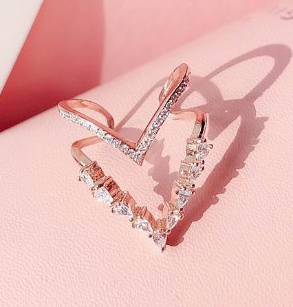 (Pre-Order) Double Layers Adjustable Finger Ring in Rose Gold/Silver