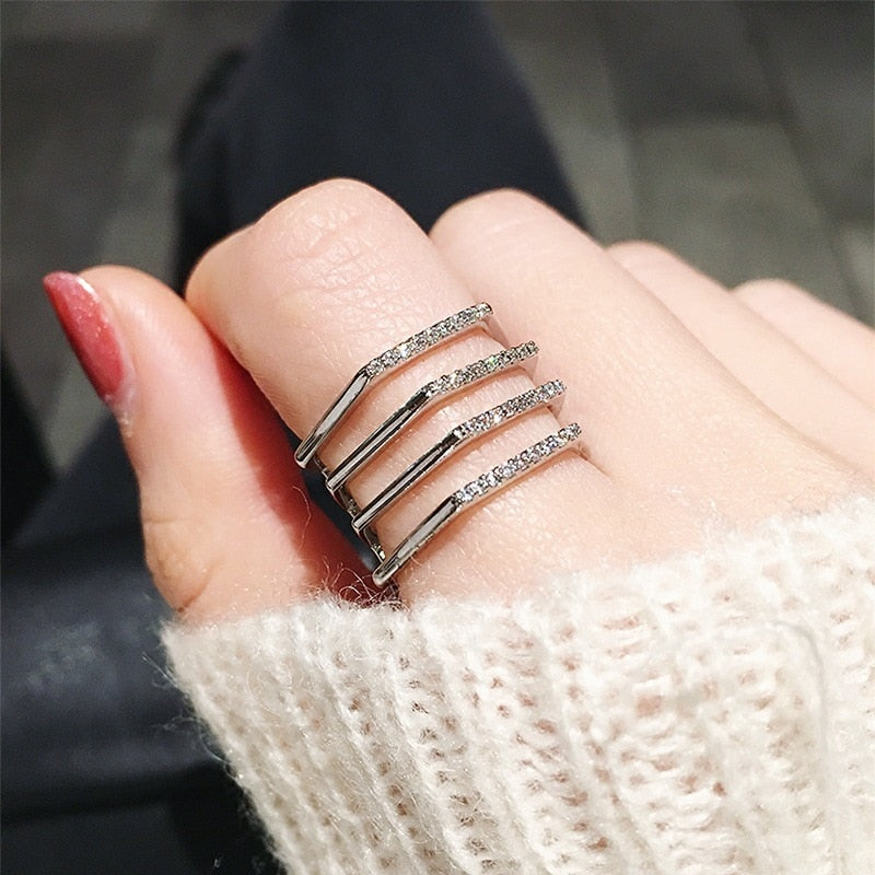 (Pre-Order) Simple Elegant Multi Layers Adjustable Open Finger Ring in Rose Gold/Silver