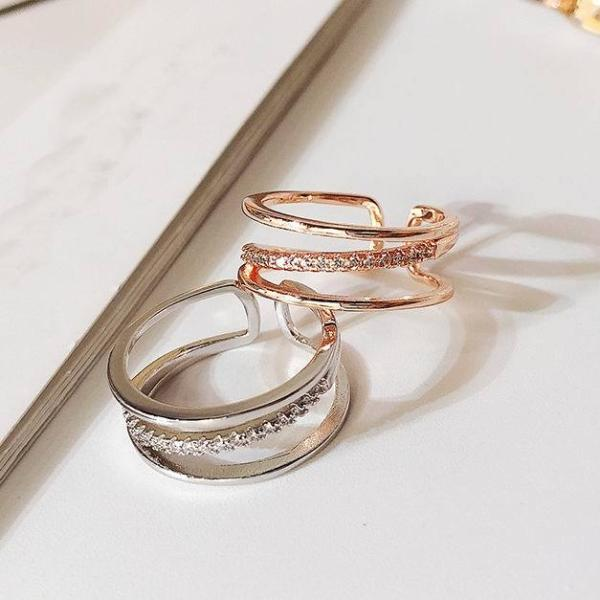 (Pre-Order) Korean 3 Layers Adjustable Open Finger Ring in Rose Gold/Silver