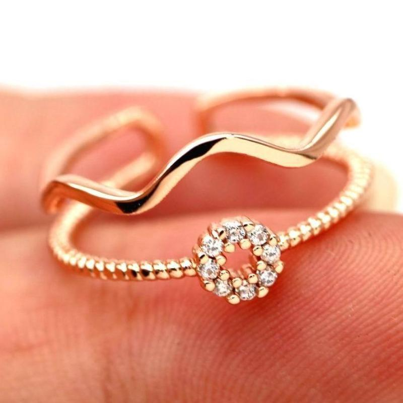 (Pre-Order) Double Layers Circle Wave Adjustable Finger Ring in Rose Gold/Silver