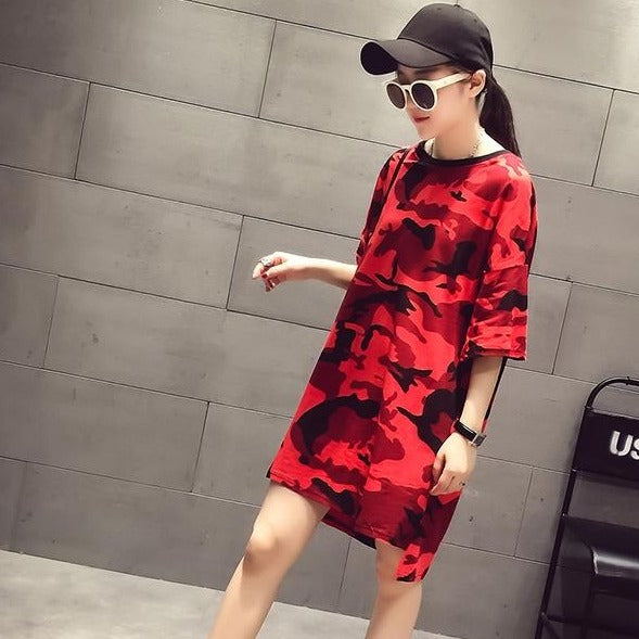 (Pre-Order) Camo Round Neck Loose Fit Top in Red