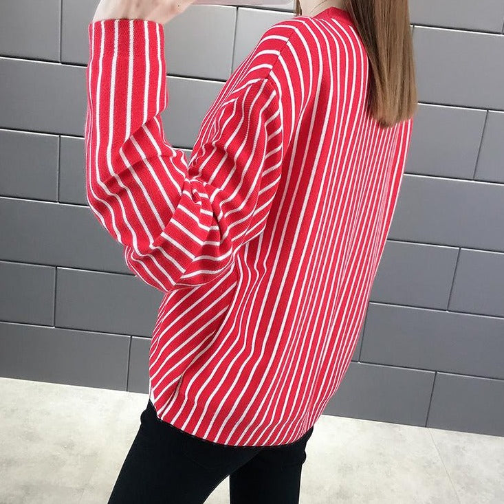 (Pre-Order) Asymmetrical Pinstripes Long Sleeve Top in Red