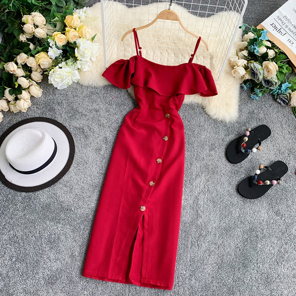 (Pre-Order) Spag Ruffles Cold-Shoulder Button Up Midi Dress in Red