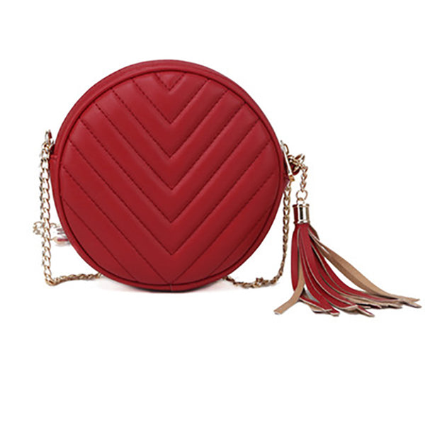 (Pre-Order) Chain Mini Round Tassel Bag in Red