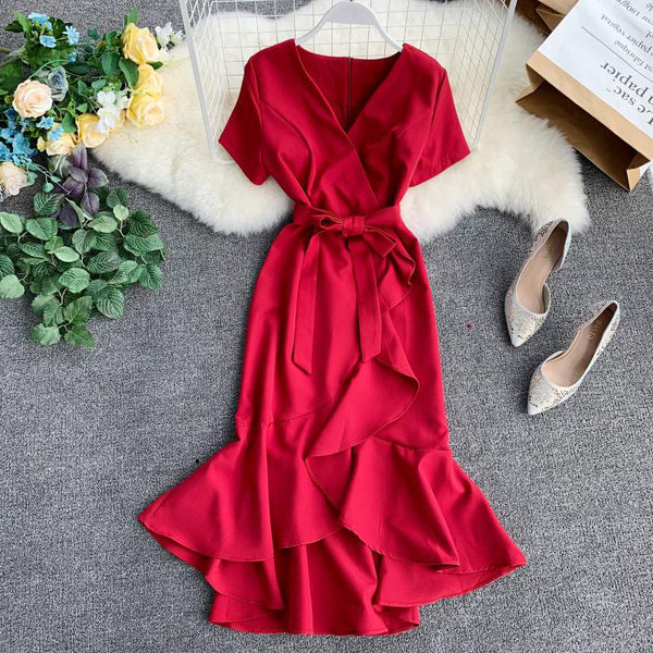 (Pre-Order) V Neck Sleeve Ribbon Asymmetrical Ruffles Midi Dress in Red