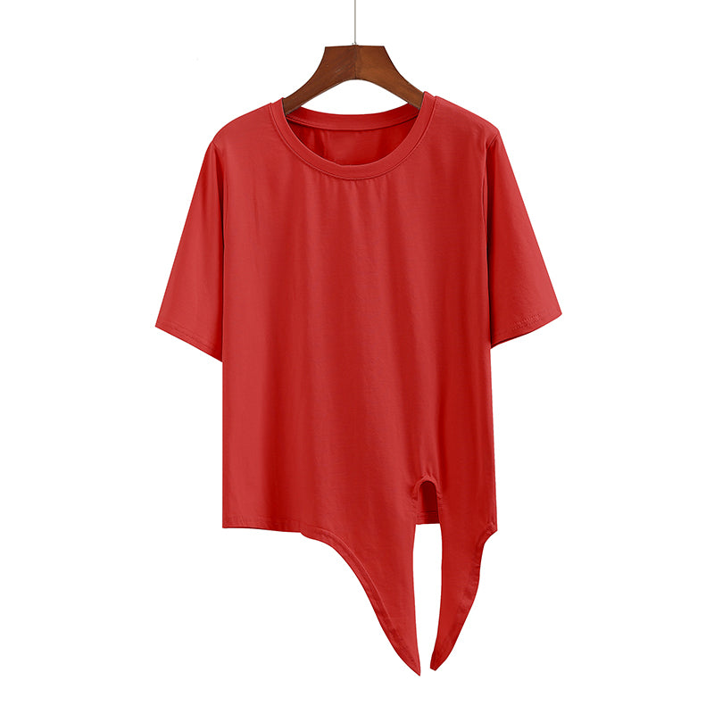 (Pre-Order) Sleeve Round Neck Side Knot Cropped Top in Red