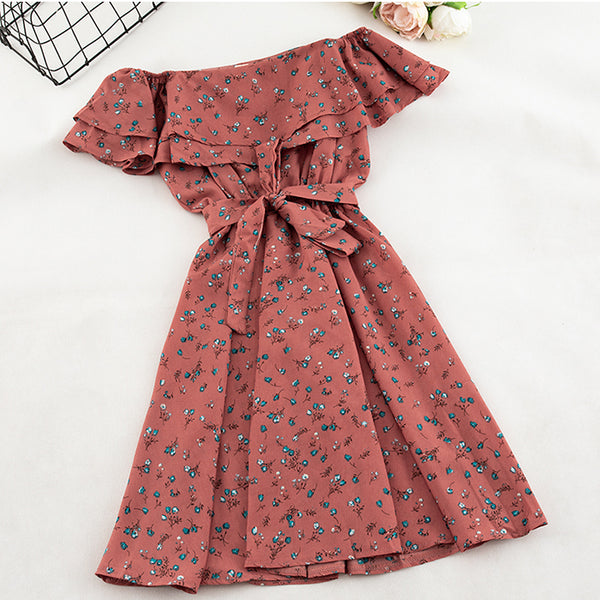 (Pre-Order) Double Ruffles Blue Floral Off-Shoulder Dress in Red