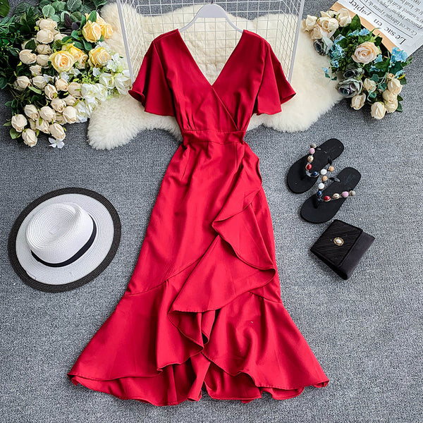 (Pre-Order) V Neck Bell Sleeve Asymmetrical Midi Dress in Red