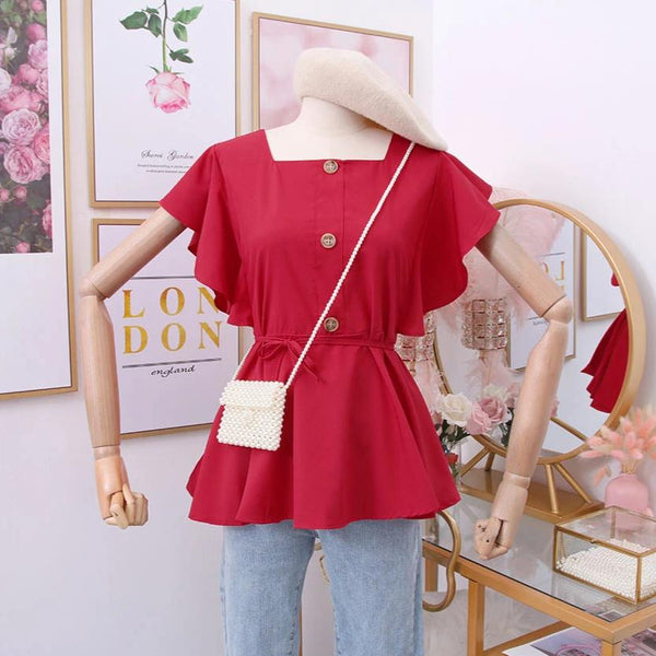 (Pre-Order) Square Ruffles Sleeve Top in Red