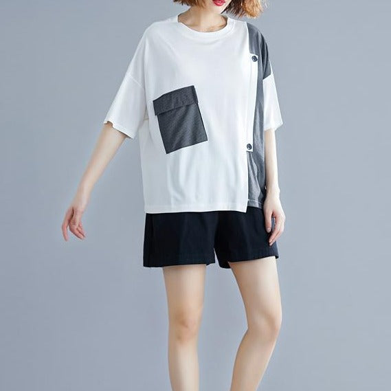 (Pre-Order) Stripes Patch Loose Fit Top in White