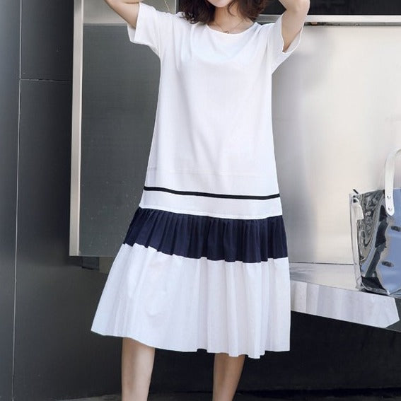 (Pre-Order) Sleeve Colourblock Loose Fit Midi Dress in White
