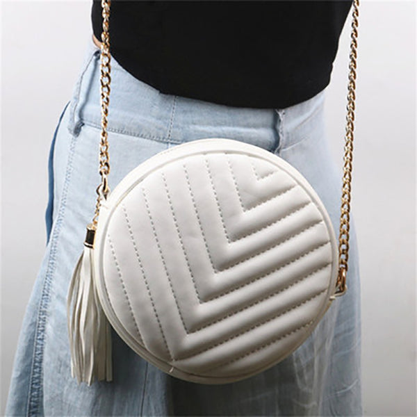 (Pre-Order) Chain Mini Round Tassel Bag in White
