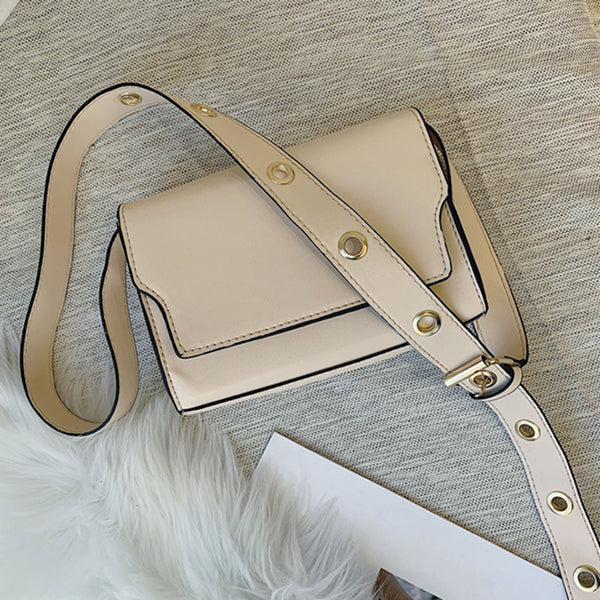 (Pre-Order) Retro Thick Eyelet Crossbody Bag in Off White-Beige
