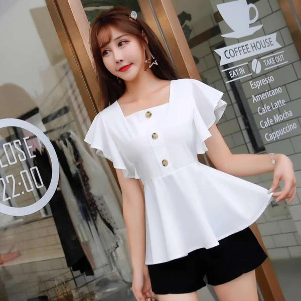 (Pre-Order) Square Ruffles Sleeve Top in White