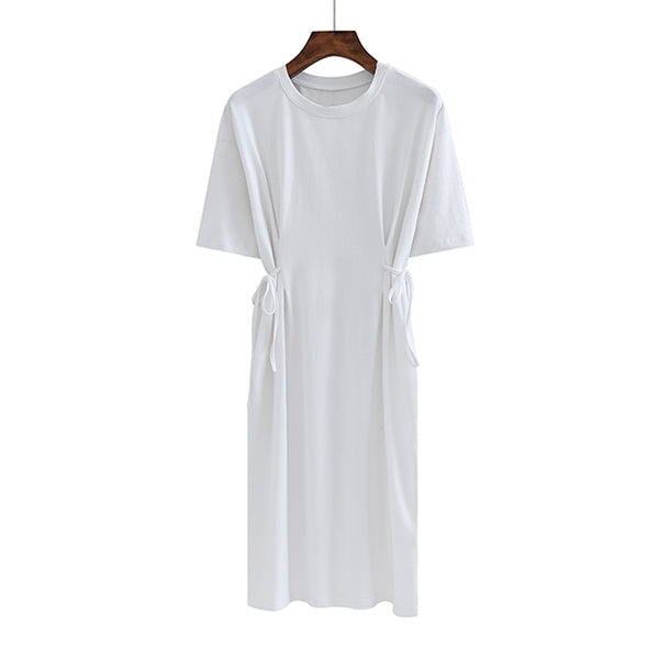 (Pre-Order) Round Neck Side Tie Sleeve Tee Dress in White