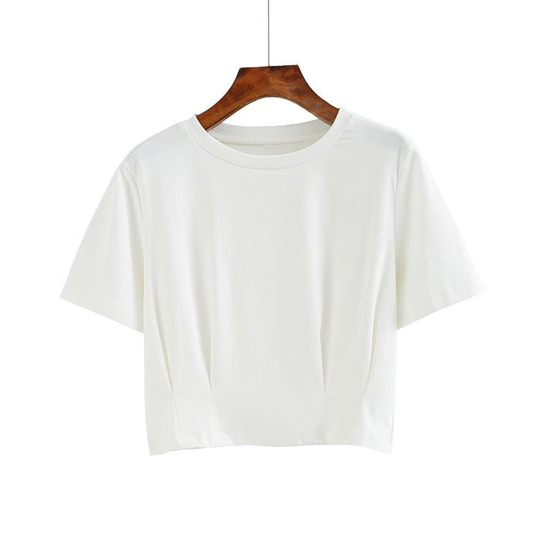 (Pre-Order) Sleeve Round Neck Cropped Top in White