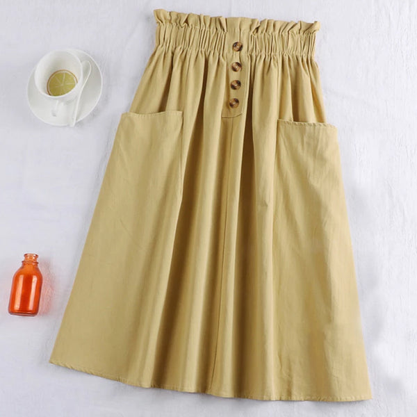 (Pre-Order) Sides Large Pockets High Waist Midi Skirt In Yellow-Beige