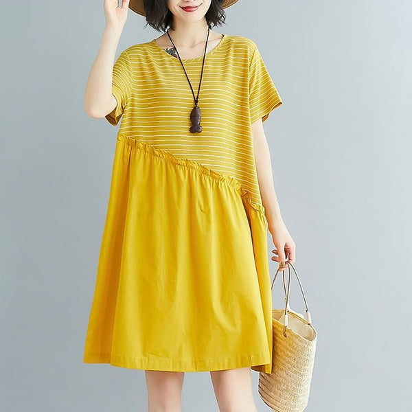 (Pre-Order) Pinstripes Patched Loose Fit Babydoll Dress in Yellow