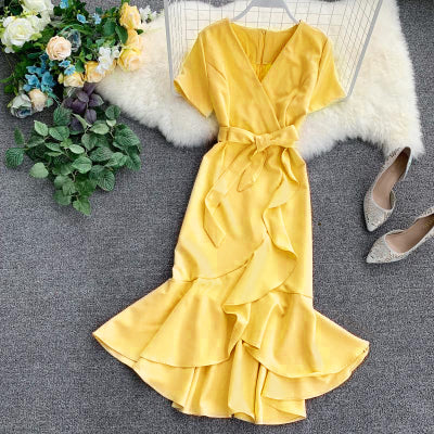(Pre-Order) V Neck Sleeve Ribbon Asymmetrical Ruffles Midi Dress in Yellow