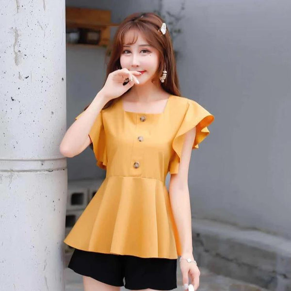(Pre-Order) Square Ruffles Sleeve Top in Yellow