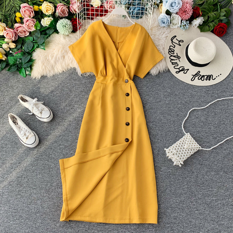 (Pre-Order) Bat Wing V Neck Side Button Midi Dress in Yellow