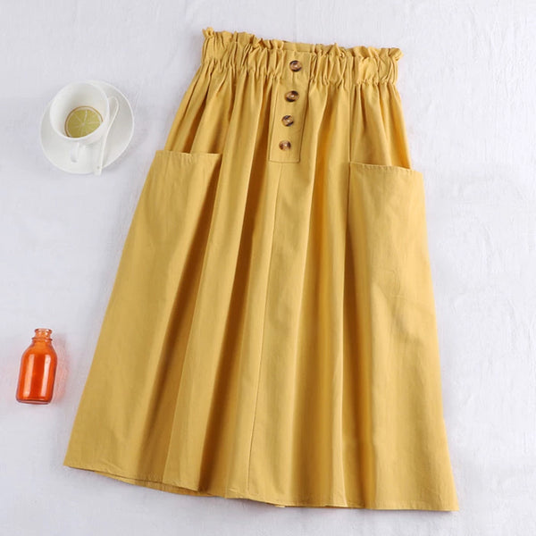 (Pre-Order) Sides Large Pockets High Waist Midi Skirt In Yellow