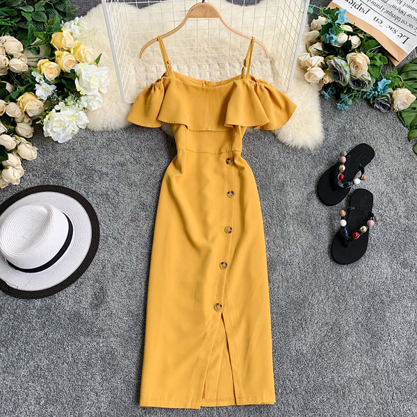 (Pre-Order) Spag Ruffles Cold-Shoulder Button Up Midi Dress in Yellow