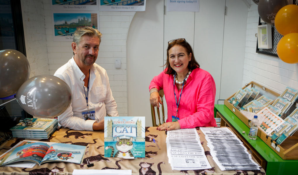 The Tower Bridge Cat book signing with author Tee Dobinson and artist Steve Cox.