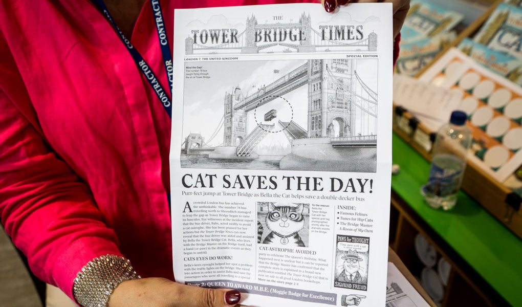 Newspaper documenting The Tower Bridge Cat saving the day