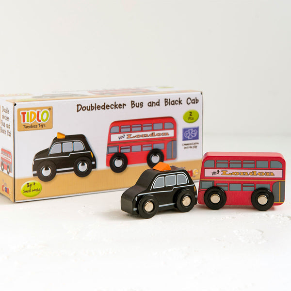 Wooden Doubledecker Bus And Black Cab Set