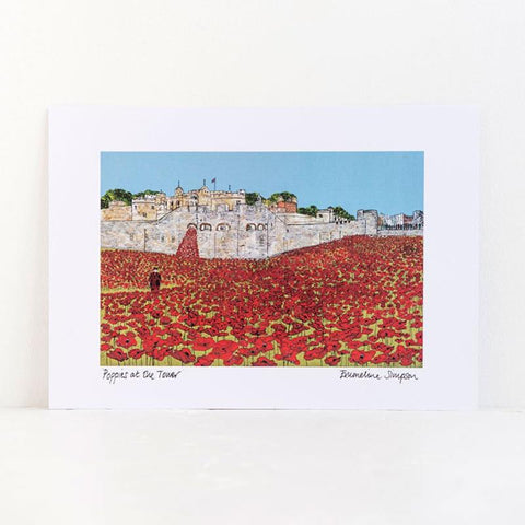 Emmeline Simpson Poppies Signed A4 Print
