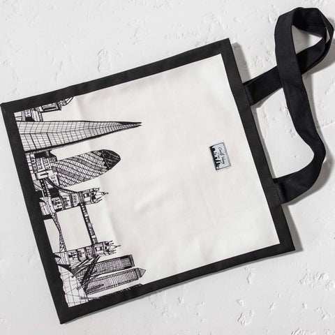 Cecily Vessey Skyline Canvas Tote Bag Black Trim 1