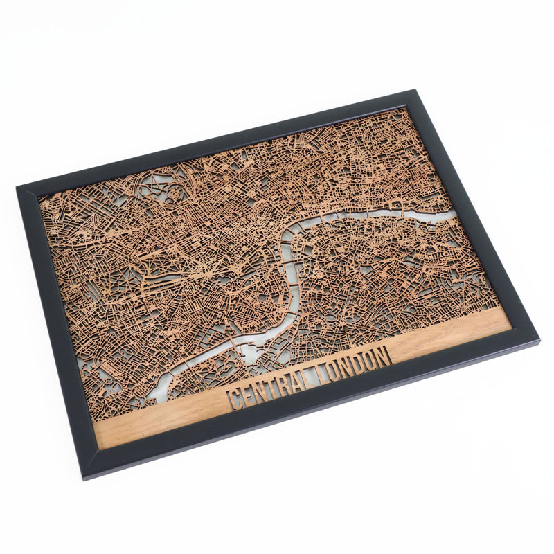 Central London Framed Cutmap Oak 1